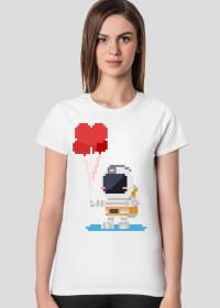 Pixel Art - astronauta z balonami - styl retro - 8 bit - grafika inspirowana grą Minecraft - damska koszulka
