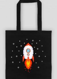 Pixel Art - Rakieta w kosmosie - styl retro - 8 bit - grafika inspirowana grą Minecraft - torba