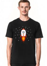 Pixel Art - Rakieta w kosmosie - styl retro - 8 bit - grafika inspirowana grą Minecraft - męska koszulka