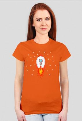 Pixel Art - Rakieta w kosmosie - styl retro - 8 bit - grafika inspirowana grą Minecraft - damska koszulka