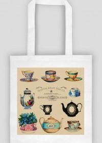 Ekologiczna torba - Filiżanki vintage, retro, shabby chic