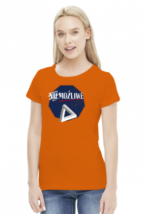 Nie możliwe - złudzenie optyczne - figura niemożliwa - Trójkąt Penrose'a - retro - vintage - damska koszulka