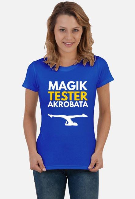 Magi, tester, akrobata - damska niebieska koszulka