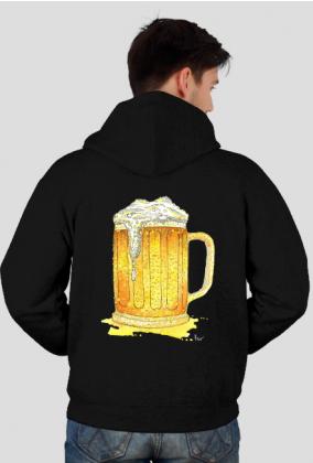 BLUZA MĘSKA ZAPINANA Z KAPTUREM piwo