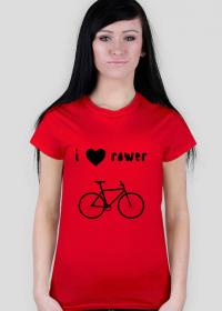 "Grupowa koszulka basic w 6 kolorach ""I love rower"""