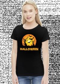 Upiorny napis Halloween i straszna sceneria - grafika - księżyc - nietoperz - komiks - damska koszulka