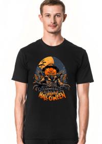 Straszna postać dyniogłowego stracha na wróble i upiorny napis Happy Halloween - kruki - nietoperze - grafika - komiks - męska koszulka