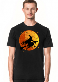 Czarownica / Wiedźma na miotle - księżyc w pełni - nietoperz - Halloween - sylwetka - humor - grafika - komiks - męska koszulka