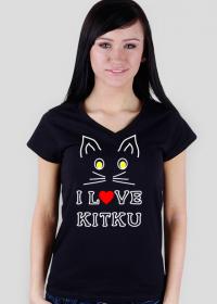 I love kitku damska  koszulka czarna