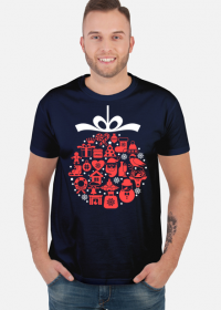 Świąteczna bąbka choinkowa - mikołaj - choinka - zima - śnieg - prezent - święta - Boże Narodzenie - czerwony - biały - męska koszulka