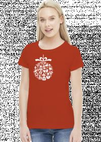 Świąteczna bąbka choinkowa - mikołaj - choinka - zima - śnieg - prezent - święta - Boże Narodzenie - biały - damska koszulka