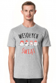 Urocze kotki w świątecznych czapkach. Napis Wesołych Świąt - Boże Narodzenie - Wigilia - śnieg - męska koszulka