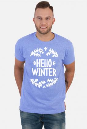 Napis Hello Winter - Boże Narodzenie - Wigilia - choinka - święta - męska koszulka