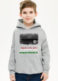 Bluza z kapturem dziecięca szara (melanż) Made in Hungary