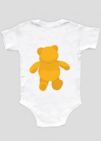 Body niemowlęce z misiem, z przodu i z tyłu