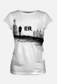 EXPLORIDE EXPLORER damska, biała z czarną grafiką i logo z tylu