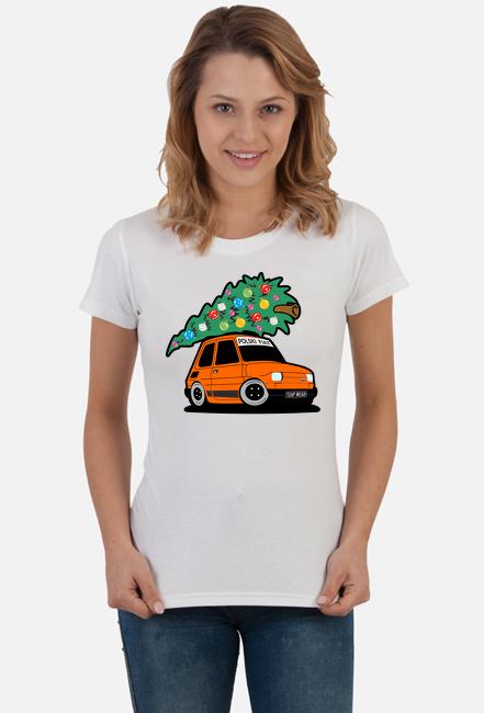 POMARAŃCZOWY MALUCH Z CHOINKĄ - kolorowa koszulka damska