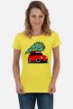 CZERWONY MALUCH Z CHOINKĄ - kolorowa koszulka damska