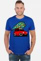 CZERWONY MALUCH Z CHOINKĄ - kolorowa koszulka męska
