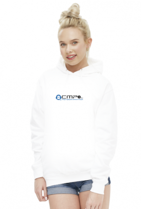 Bluza Damska z kapturem biała - Logo Cmp3.eu