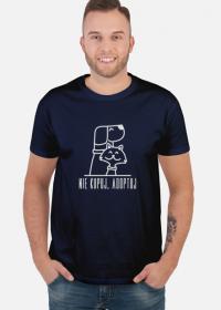 Nie kupuj, adoptuj / męski t-shirt / ciemny