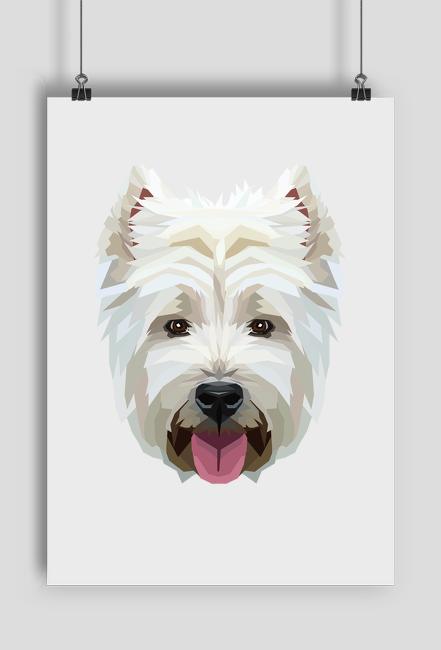 West Highland White Terrier geometryczny plakat A2 z Twoim Zwierzakiem