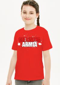 Dziewczęcy Czerwony T-Shirt: CZERWONA ARMIA BIAŁY