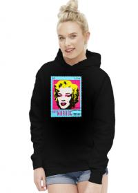 Bluza damska z kapturem Marilyn znaczek - czarna