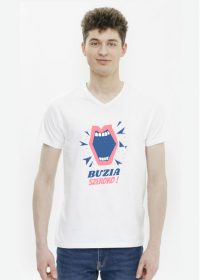 BUZIA SZEROKO - koszulka męska, biała, stomatologia