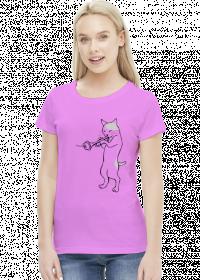 Koszulka damska Grający kot