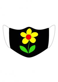 Maseczka Kolorowa Czarna żółty kwiat