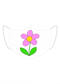 Maseczka Kolorowa biała różowy kwiat