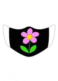 Maseczka kolorowa czarna z kwiatem