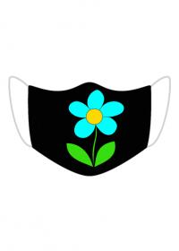 Maseczka Kolorowa Czarna Niebieski kwiat