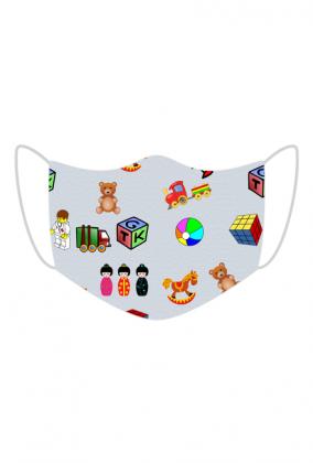 Maseczka dla dzieci wielorazowa z nadrukiem zabawki