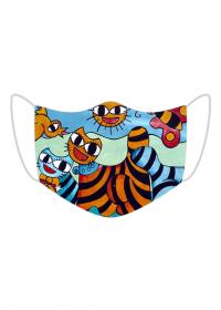 Kolorowa maseczka ochronna wielokrotnego uzytku Kot Graffiti