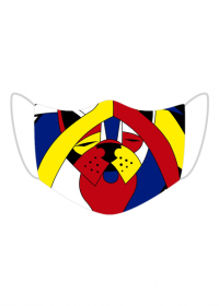 Kolorowa maseczka ochronna wielokrotnego uzytku Abscract Dog