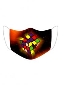 Kolorowa maseczka ochronna wielokrotnego uzytku Kostka Rubika