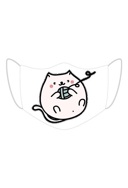 Bawełniana maseczka wielorazowa trójwarstwowa z kotkiem