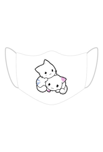 Bawełniana maseczka wielorazowa trójwarstwowa z kotkami