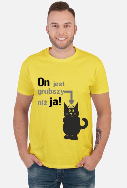 Koszulka męska jasna - On jest grubszy niż ja!