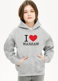 I love Warsaw Kocham Warszawę bluza dziewczęca z kapturem