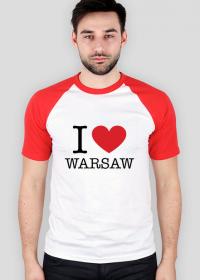 I love Warsaw Kocham Warszawę koszulka męska baseball