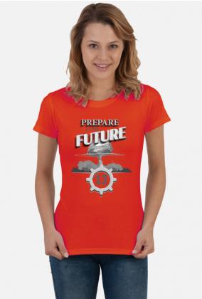 Grzyb atomowy - schron - retro - Prepare for the future - Metro - Fallout - Wasteland - damska koszulka