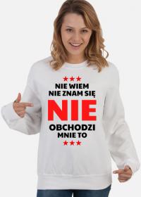 Bluza damska biała - Nie Wiem, Nie Znam Się...