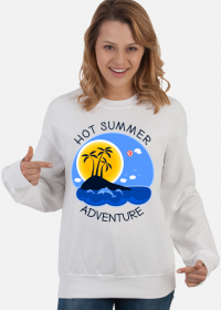 Bluza damska biała na wakacje i lato - Hot Summer Adventure