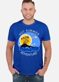 Koszulka męska niebieska na wakacje i lato - Hot Summer Adventure