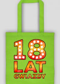 Urodzinowa torba na zakupy kolor - 18 Lat Gwiazdy