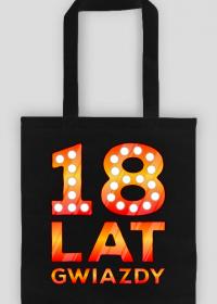 Urodzinowa torba na zakupy czarna - 18 Lat Gwiazdy