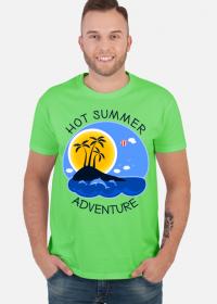 Koszulka męska zielona na wakacje i lato - Hot Summer Adventure